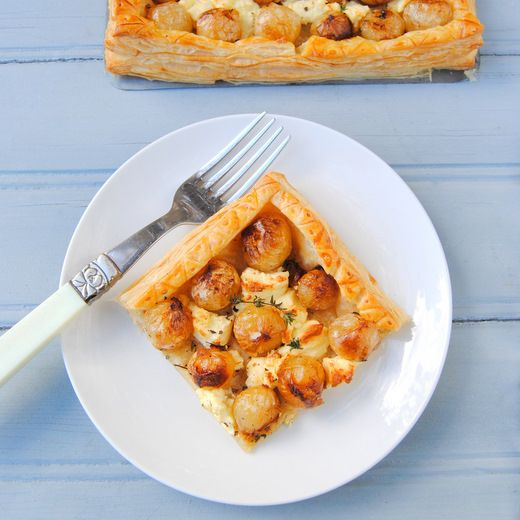 Easy Caramelised Onion and Feta Tart - using pickled onions