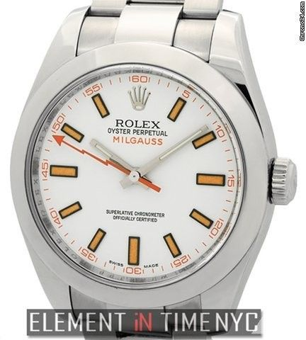 Rolex Milgauss Stainless Steel 40mm White Dial Circa 2009 Ref. 116400 Price On Request