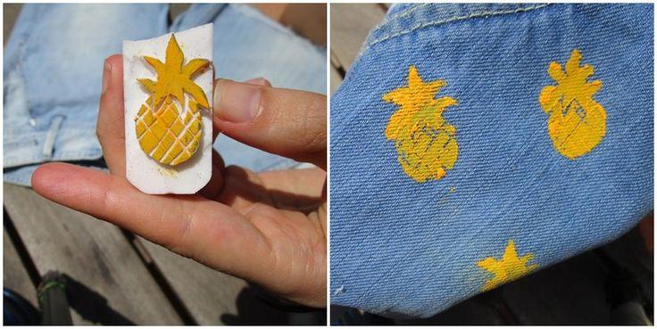 Estampa piñas en unos pantalones tejanos viejos - http://www.manualidadeson.com/estampa-pinas-en-unos-pantalones-tejanos-viejos.html
