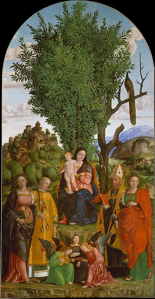 Madonna and Child with Saints, c.1520, Giralamo dai Libri; the dead tree and laurel tree signify death and resurrection, and the peacock is a symbol of immortality; the saints are depicted with their symbolic attributes. (Metropolitan Museum of Art)