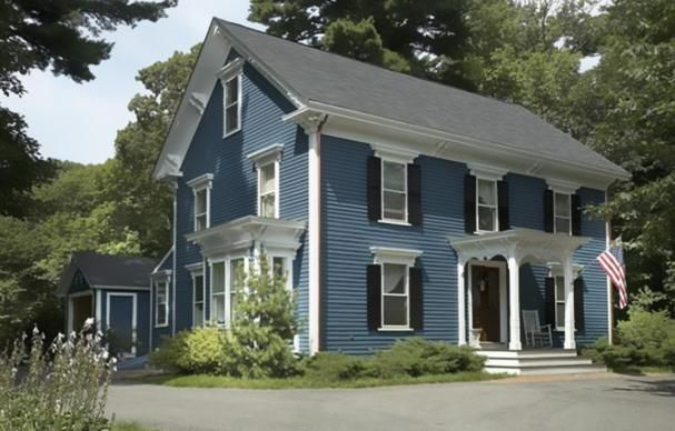 Awesome Colonial Exterior Paint Colonial Exterior Colonial House Exteriors House Exterior Blue