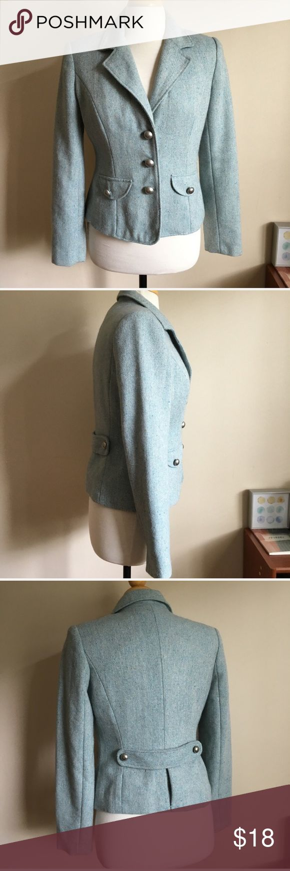 Merona Light Blue Military Style Jacket Perfect for fall! Soft blue Tweed color. Silver military style buttons. Excellent used condition. Live long and poshper 🖖🏼 Merona Jackets & Coats Blazers