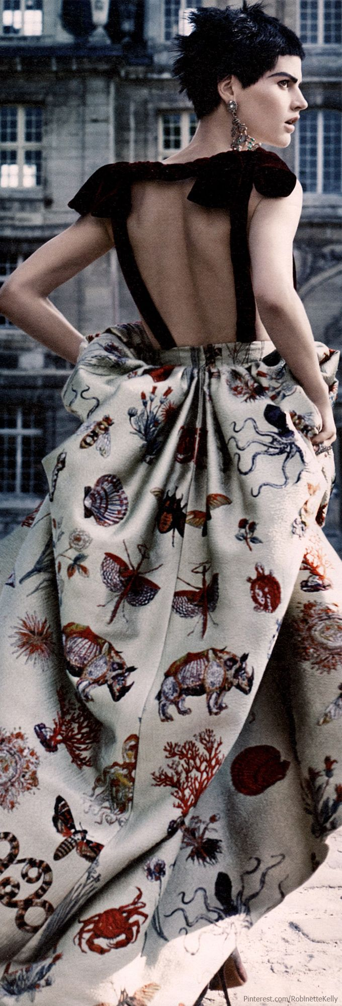 Valentino | Haute Couture F/W 2013 | W Magazine.  Print brocade skirt.  Rhino, octopi, crab and a menagerie of other animals.