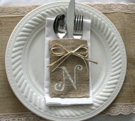 Burlap silverware pockets, Cutlery holders. 10 for 25