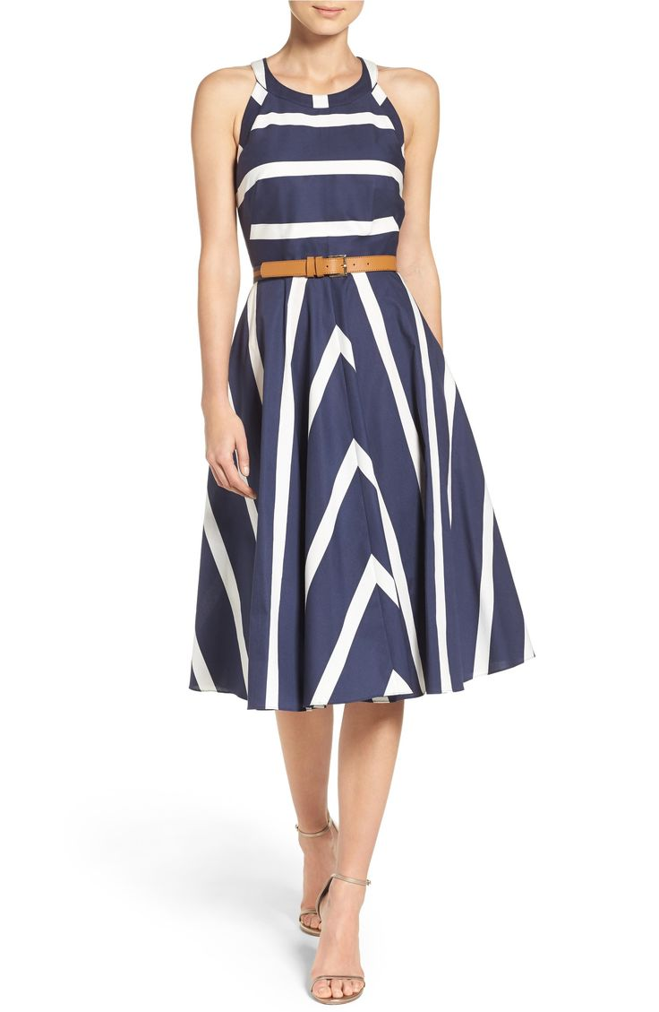 Main Image - Eliza J Stripe Fit & Flare Dress (Regular & Petite)