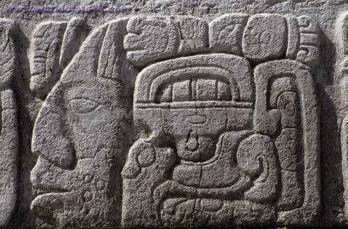 Stone carving on the stairs palenque chiapas mexico