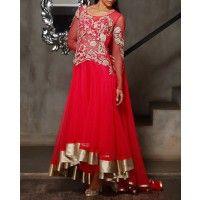 Gaurav Gupta - Hot Pink Anarkali Suit with Floral Metallic Appliqué