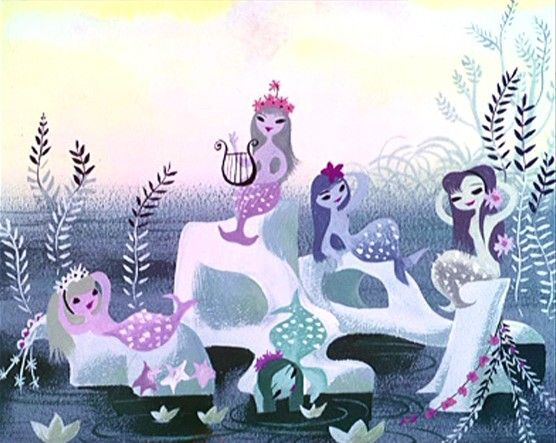 "Concept Art for Peter Pan- ""Mermaid Lagoon"" by Mary Blair  I'm stopping before this turns into a Mary Blair set, but I love her, and she does seem to like purples.  #TattyDevineLilac"