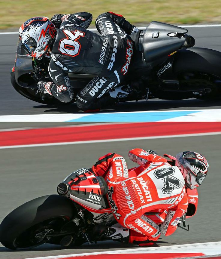 BLACK or RED Spidi? Ducati factory MotoGP rider Andrea Dovizioso switching colors of his Track Wind Spidi suit, with MotoGP 2014 season in mind. http://www.spidi.com/eu/eu_en/motorcycle-suits/track-wind-replica.html