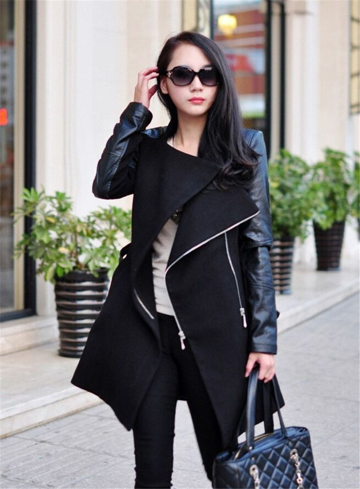 Women Coat Pu Leather and Wool Jacket
