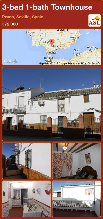 3-bed 1-bath Townhouse in Pruna, Sevilla, Spain ►€72,000 #PropertyForSaleInSpain