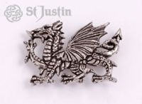 Brooch.  The official emblem of Wales, the red dragon (y ddraigg goch), although perhaps of Chinese origin, was introduced to Britain by the Romans some 1800 years ago. Initially a military standard, over time this mythical beast developed into the flag of the nation. Henry VII claimed descent from Cadwaladar, the great Welsh king, traditionally called the last king of Britain whose dragon symbol, redolent of bravery and fierceness, had been taken up by later Welsh princes.  pb123