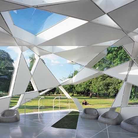 Bjarke Ingels unveiled his design for this year's Serpentine Gallery Pavilion this week so today we're going to be posting images of designs from previous years. First up is Toyo Ito's 2002 structure which consisted of a series of triangular and trapezoid forms. See more Serpentine Gallery Pavilions at http://ift.tt/1LnHkVJ #architecture #pavilions #serpentinegallery by dezeen