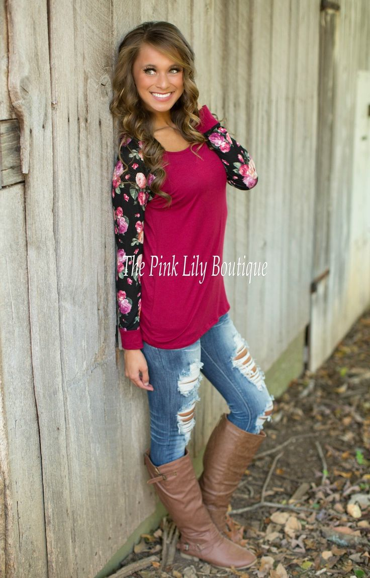 The Pink Lily Boutique - Blooming Blossoms Blouse Wine , $35.00 (http://thepinklilyboutique.com/blooming-blossoms-blouse-wine/)