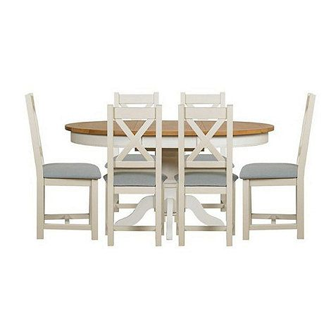 Debenhams Oak And Painted Wadebridge Round Extending Table 6 Chairs With Blue Fabric