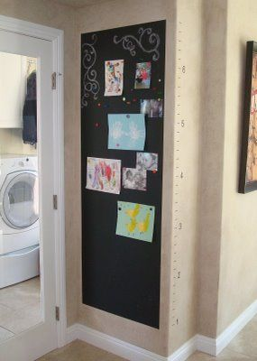 Magnetic Chalkboard Wall & Growth Chart 1 via lilblueboo.com. Tip.... Many coat
