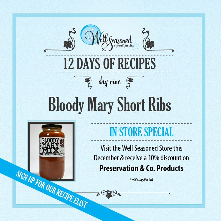 Day 9 of our #ws12days of Recipes went out today: Bloody Mary Short Ribs ft. Preservation & Co. Bloody Mary Mix  For the liquorist on your gift list! Visit us in store to see our entire selection of Preservation & co products. We also have a great selection in barware to make a great drinks themed basket for the cocktail connoisseur on your list!  Missed the recipe + feature gift idea? Sign up via any of our 12 days of recipes pages! #stockingstuffers #gourmetgifts #liquorist #drinklovers