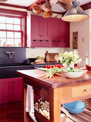 Find This Pin And More On Kitchen Cabinet Color Ideas Red Country