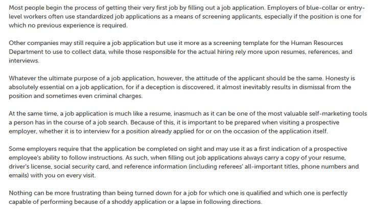 This is an article on How to properly fill out a job application - blue collar resume