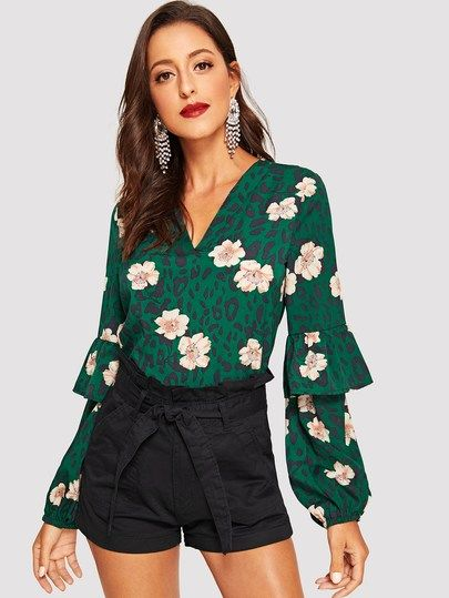 cfc292116e319 V-neck Ruffle Trim Leopard and Floral Top in 2019