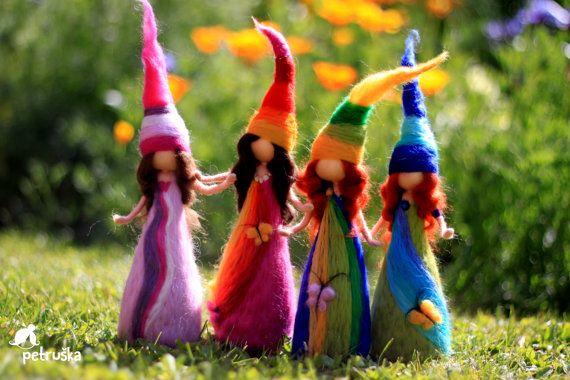 Regenbogen Elfs Waldorf inspiriert Nadel von PETRUSKAfairyworld