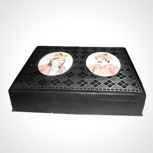 """Bidriware Box (5"""") 'colourful work'   Alloy with silver inlaying   MRP-Rs.4500"""
