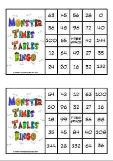 Monster times tables bingo a fun way to keep the skill for 11 x table games