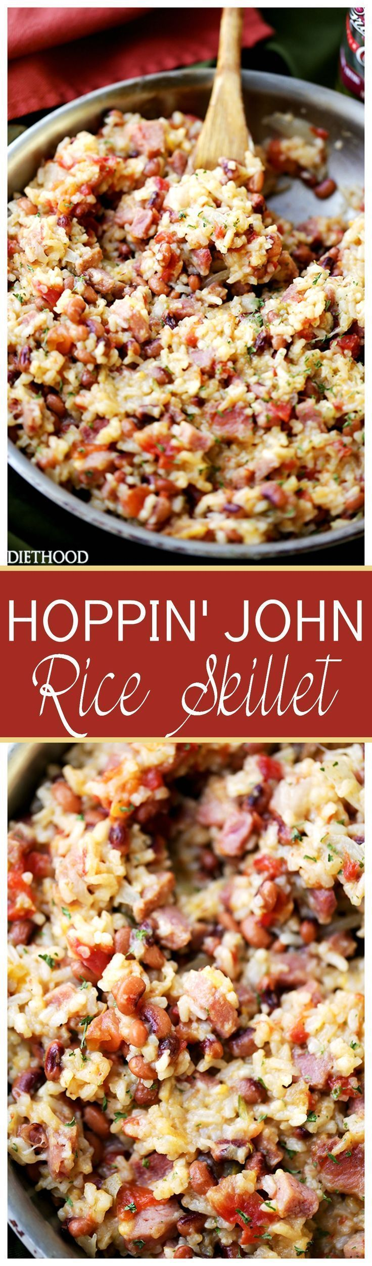 Hoppin' John Skillet Recipe - A classic Southern dish with black eyed peas, ham and rice, traditionally served on New Year's Day for good fortune in the coming year.