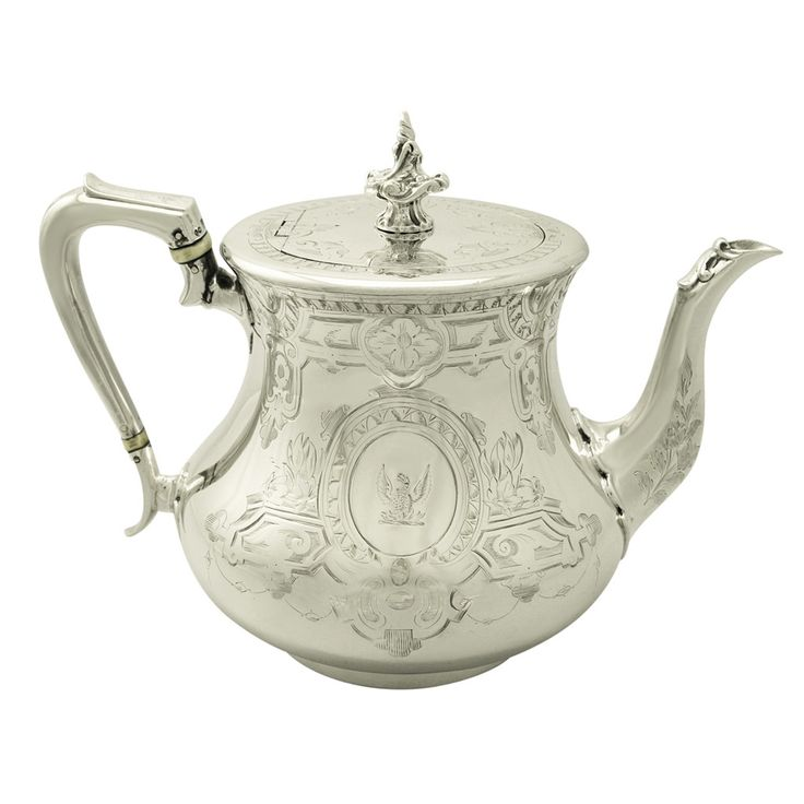 Sterling Silver Teapot, Antique Victorian | From a unique collection of antique and modern tea sets at https://www.1stdibs.com/furniture/dining-entertaining/tea-sets/