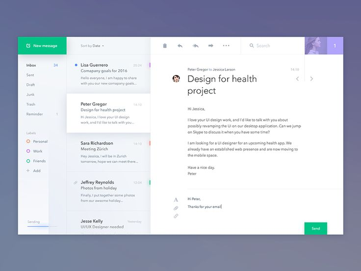 Concept for Mail desktop app, which combines classic email functionality with some productivity features. Behance Twitter Facebook