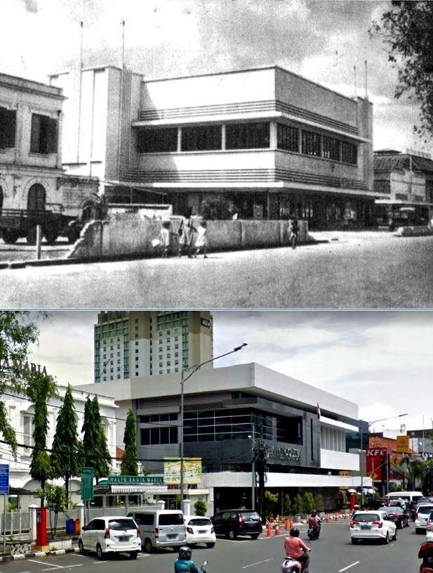 Gezicht op Noordwijk langs de Molenvliet in Batavia, met onder meer restaurant Maison Versteeg, circa  1940, ,., Kantor Bank Indonesia, jl Juanda, Jakarta, 2017