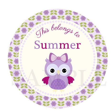 School label - lila owl name label - name sticker - back to school label lavender - owl school label - book label - this belongs to label