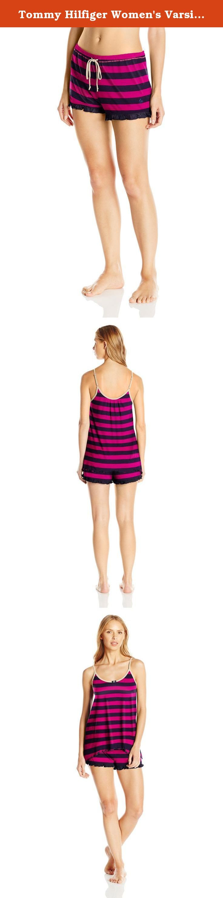 Tommy Hilfiger Women's Varsity Cami and Short Pj Set, Mixed Berry Rugby, X-Large. The perfect mix of sporty and girly with our varsity cami and short pajama set, sleep in style and enjoy our soft lightweight fabric blend.