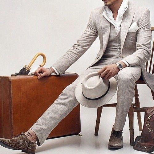 3-piece linen suit Men fashion style beautiful hot gorgeous gay straight guys suits pants bulge shirt sweater jacket tie tuxedo bro shoes casual formal street MM LGBT M4M
