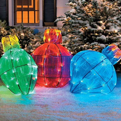 Giant Lighted Christmas Ornaments Decoration Outdoor Indoor Lawn Porch Yard | eBay