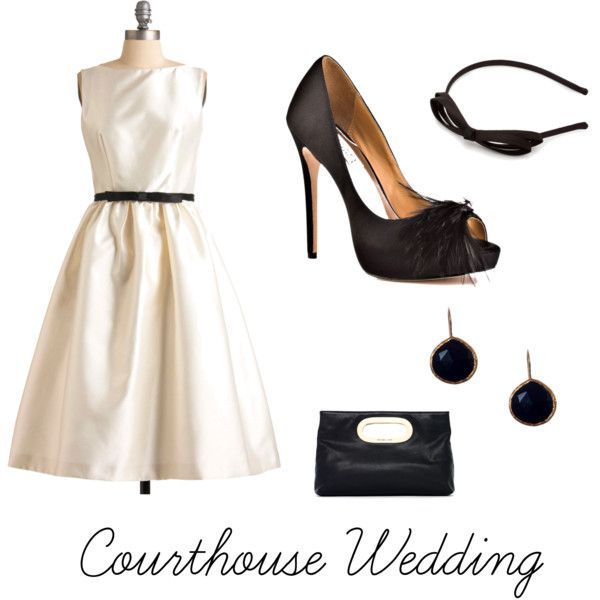 Courthouse Wedding. Dress: Modcloth. Shoes: Badgley Mischka.