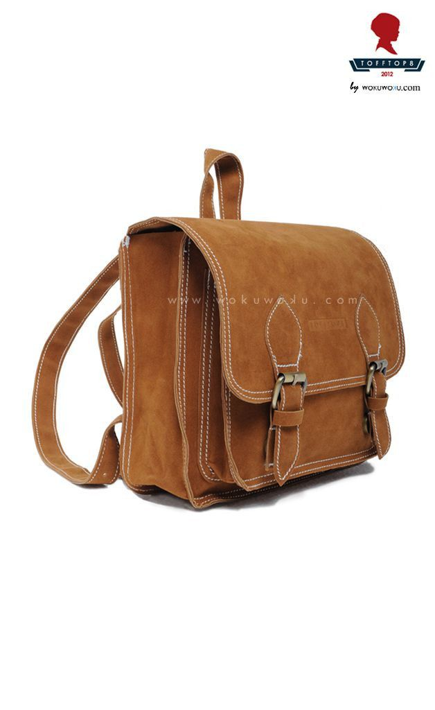 Tooftop8 Backpack Suede by Barli Asmara, available now on www.wokuwoku.com