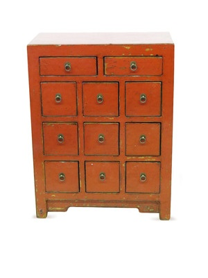 Red Chest of Eleven Drawers by Madera on Gilt HomeRed Chest, Eleven Drawers, Decor Interesting