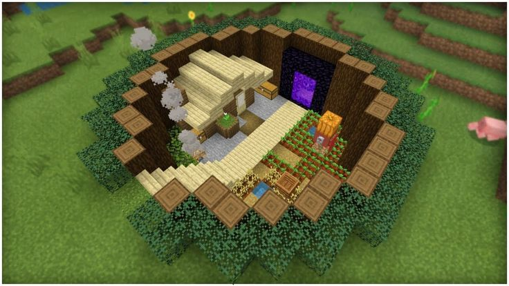 Minecraft Tutorial: How To Make A Below Ground Survival Base With a Hidden Room!(Easy Tutorial ...