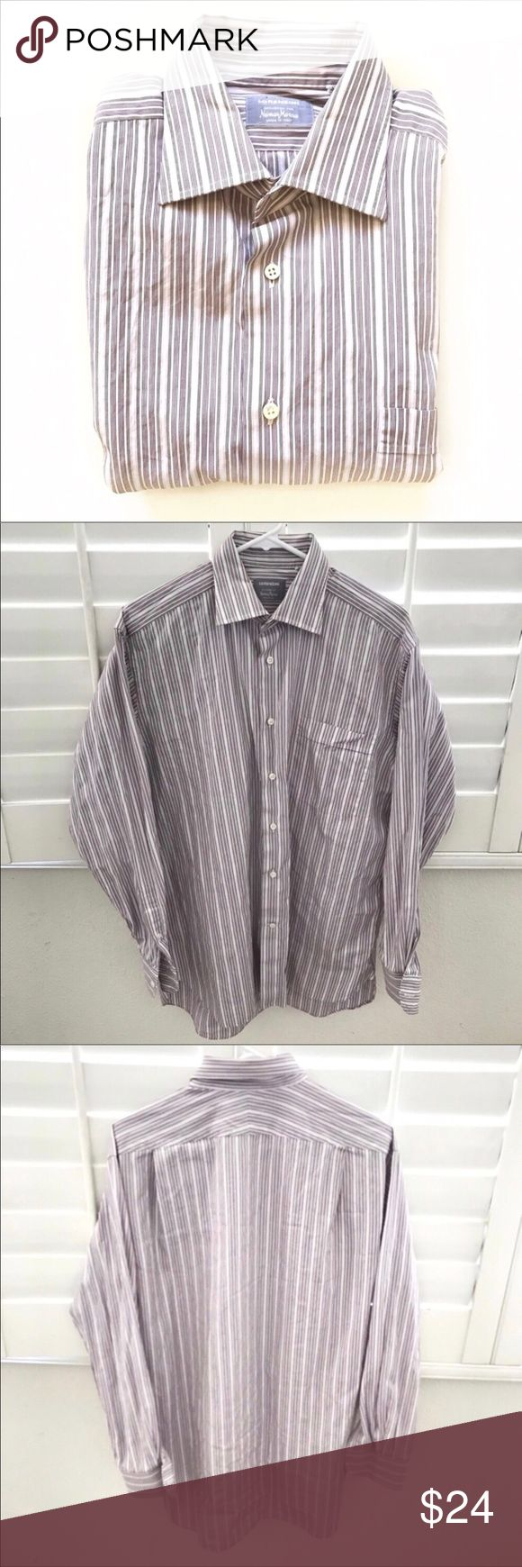 """NEIMAN MARCUS white striped dress shirt Size 16 👔 Pit to pit 23"""" 👔 Sleeve 24"""" 👔 Shoulder 19"""" 👔 Length 34""""  Tags : white , pink , striped , oxford shirt , work , weekend , special occasion, wedding , date , night out , school dance , prom , homecoming, holiday , Father's Day , corporate Halloween costume idea Neiman Marcus Shirts Dress Shirts"""