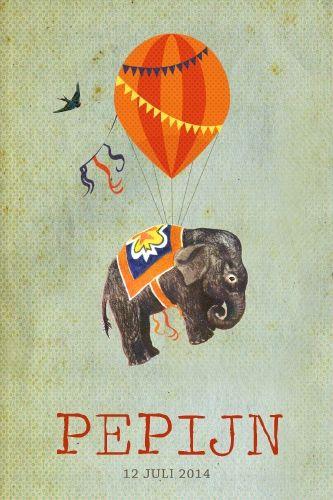 Geboortekaartje jongen - olifant aan luchtballon - vintage stijl - Pimpelpluis - https://www.facebook.com/pages/Pimpelpluis/188675421305550?ref=hl (# olifant - ballon - luchtballon - dieren - vogel - circus - vintage - retro - lief - origineel)