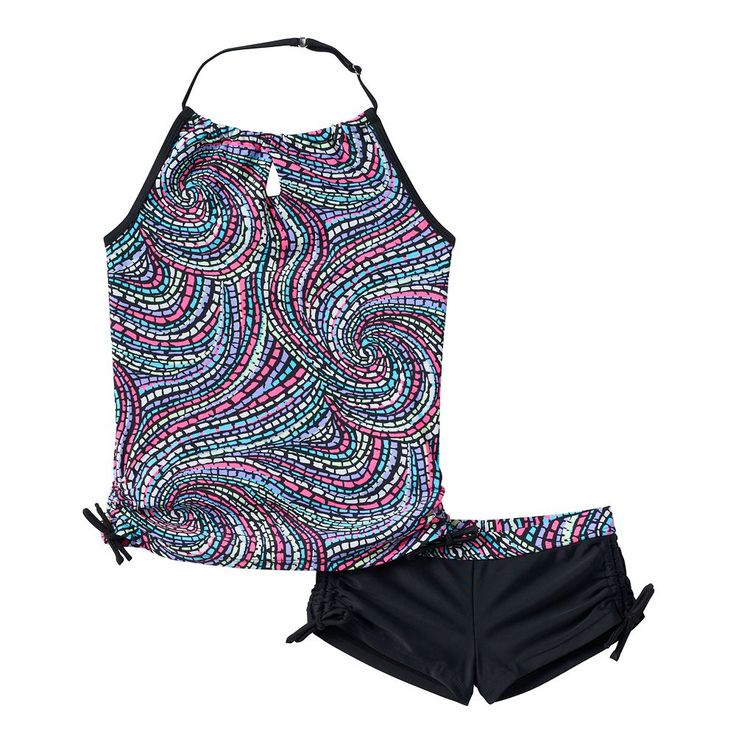 Girls 4-6x Free Country Mosaic Halter Tankini Swimsuit Set, Grey Other