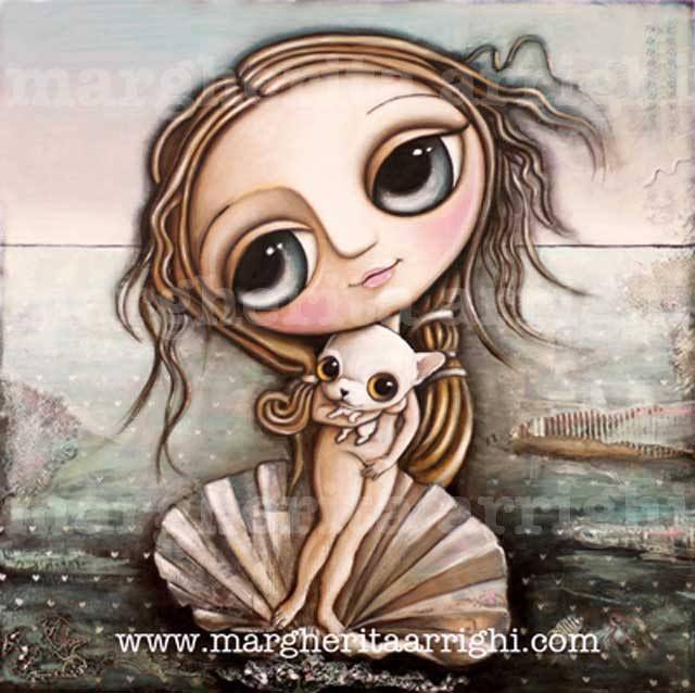 Il chiwawa capriccioso con grandi occhi, arte Margherita Arrighi