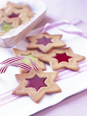 Stained-glass biscuit decorations for Christmas tree