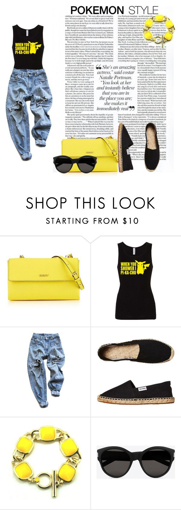Pokemon style by adriana-claudia on Polyvore featuring Levi's, Soludos, DKNY, Yves Saint Laurent, SCARLETT and pokemonstyle