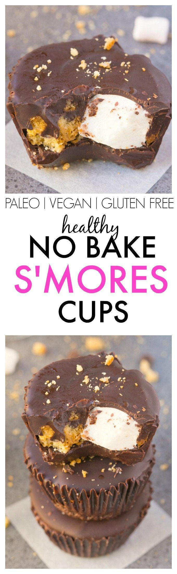 Healthy NO BAKE S'mores Cups- Easy, delicious and secretly healthy, these…