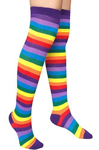394bacaff51 Chalier Womens Rainbow Knee Thigh High Socks