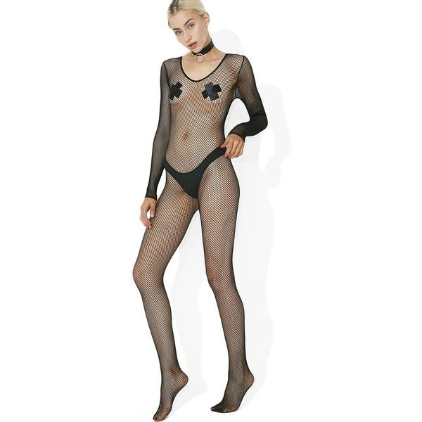 Power Up Fishnet Bodystocking ❤ liked on Polyvore featuring intimates, hosiery and fishnet hosiery
