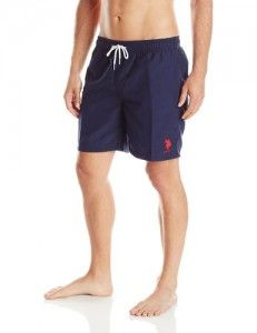 7. U.S. Polo Assn. Solid Peached Microfiber Swim shorts for boys