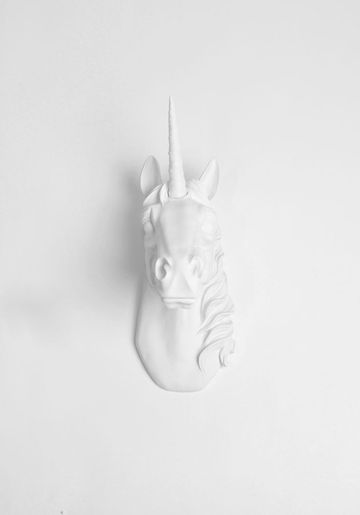 White Faux Taxidermy - The Bayer in White  | Unicorn Head | Faux Taxidermy | White Resin, $84.99 (http://www.whitefauxtaxidermy.com/product/unicorn-head-faux-taxidermy-white-resin/)